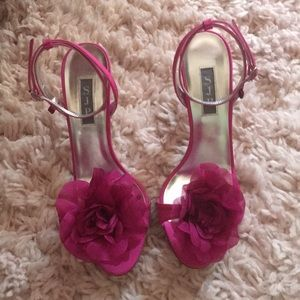"""Hot pink floral accent """"Frolic"""" heels by SJP"""